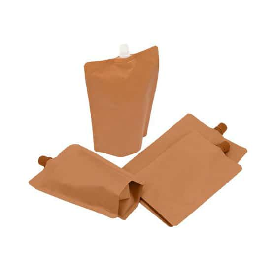 brown paper 10mm spout pouches center spout filling from spout