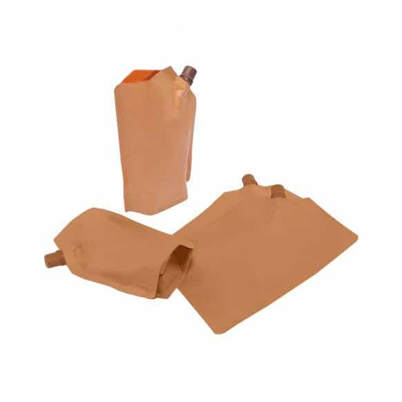 brown paper 10mm spout pouches side spout filling from pouch