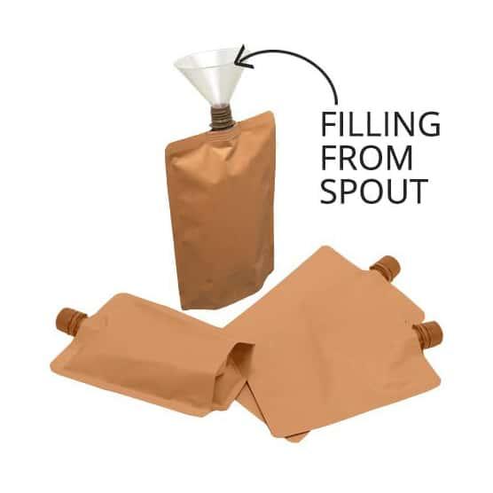 brown paper 16mm spout pouches center spout filling from spout