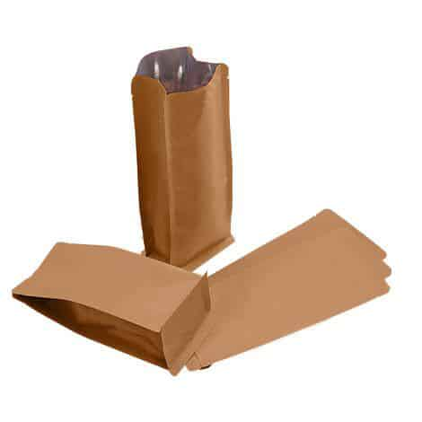 brown paper flat bottom bags no zipper with valve 1