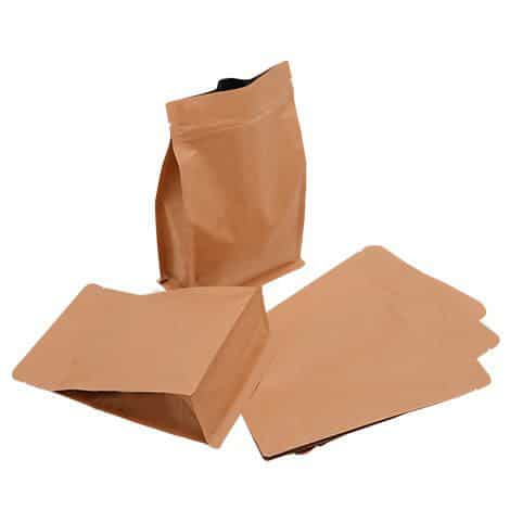 brown paper flat bottom normal zipper bags with valve 1