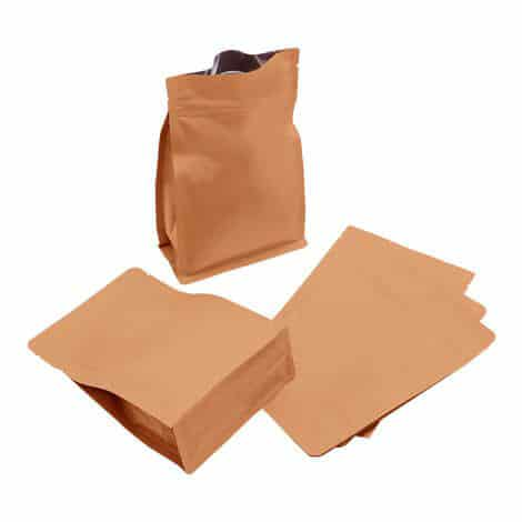 brown paper normal zipper flat bottom pouch 2 1