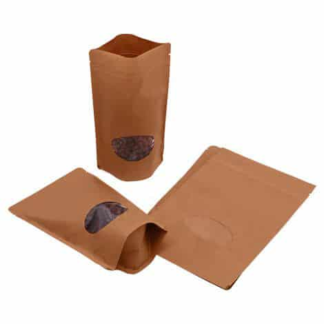 brown paper oval window stand up pouches 5