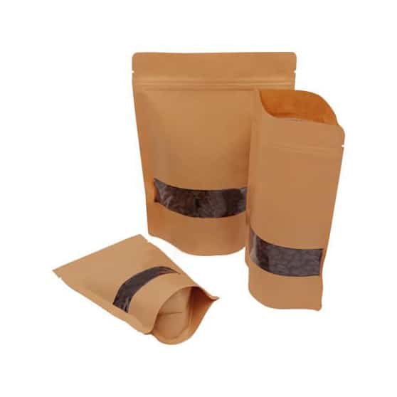 brown paper rectangle window stand up pouches 11