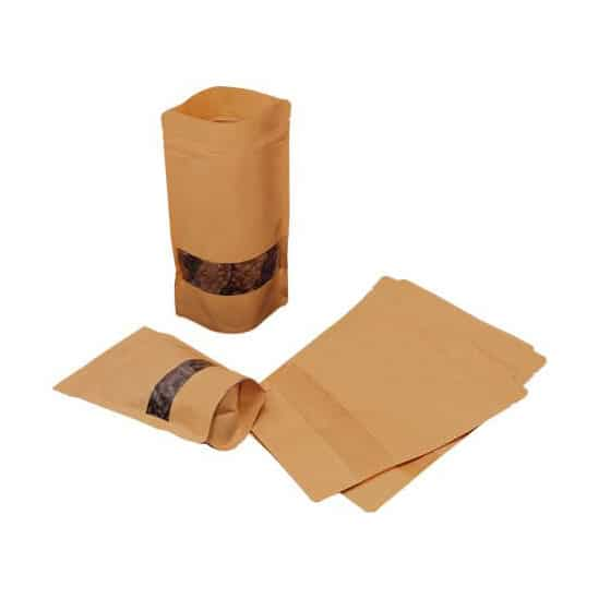 brown paper rectangle window stand up pouchess