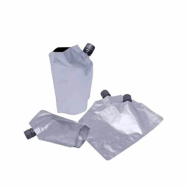 matt silver 16mm spout pouches corner spout filling from pouch