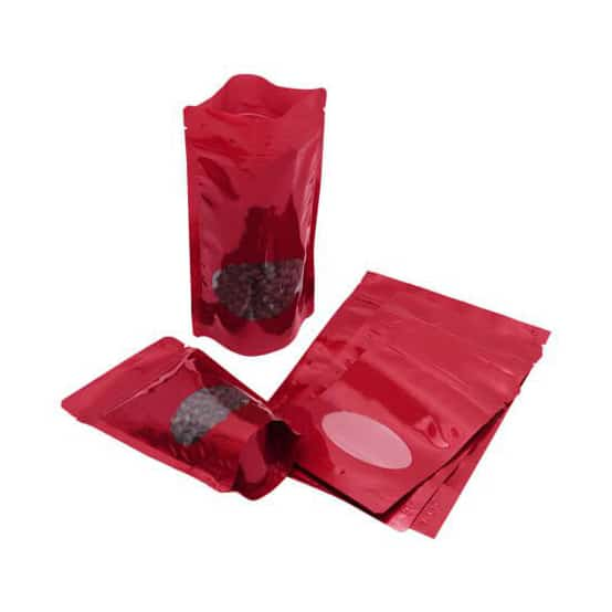 shiny red oval window stand up pouches 6